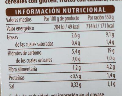 Crema de calabaza y zanahoria - Informació nutricional - es