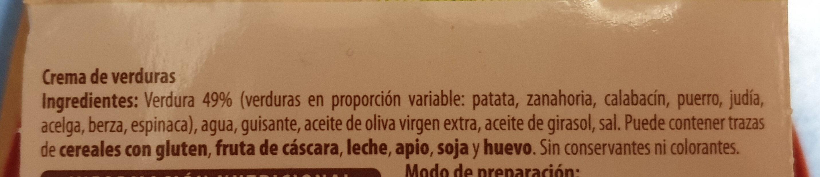 Crema de verduras - Ingredientes - es