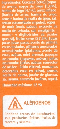 Muesli crujiente con frutas - Ingredients - es