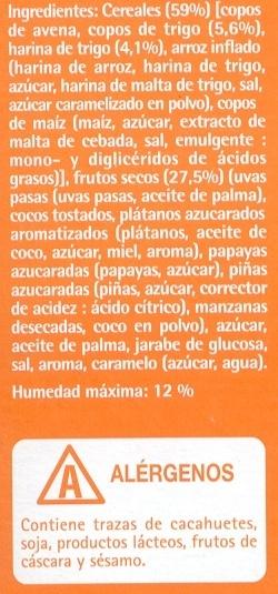 """Muesli """"Hacendado"""" Crujiente con frutas - Ingredients"""