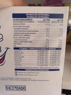 Minis rellenos leche - Nutrition facts
