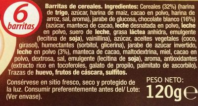Barritas de Cereales Con Chocolate Con Leche - Ingredientes