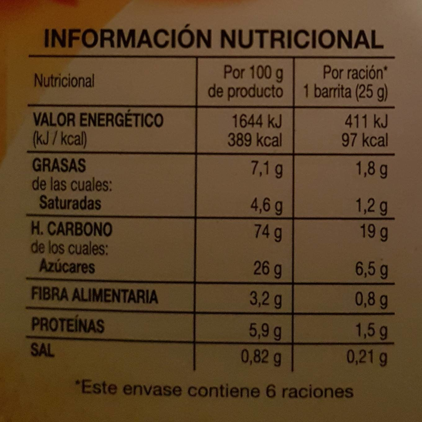 Barre muesli abricot & yaourt - Informations nutritionnelles - fr