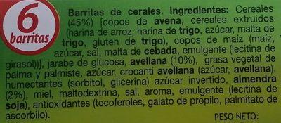 Barritas de cereales muesli con avellanas y almendras - Ingredients