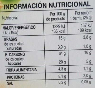 Barritas de cereales muesli con avellanas y almendras - Nutrition facts