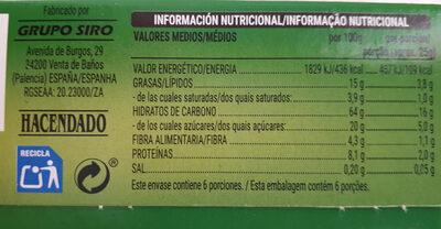 Barritas Muesli Frutos Secos - Informations nutritionnelles - es