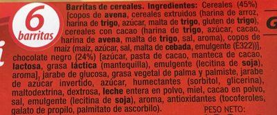 Barritas de cereales muesli con chocolate - Ingrédients