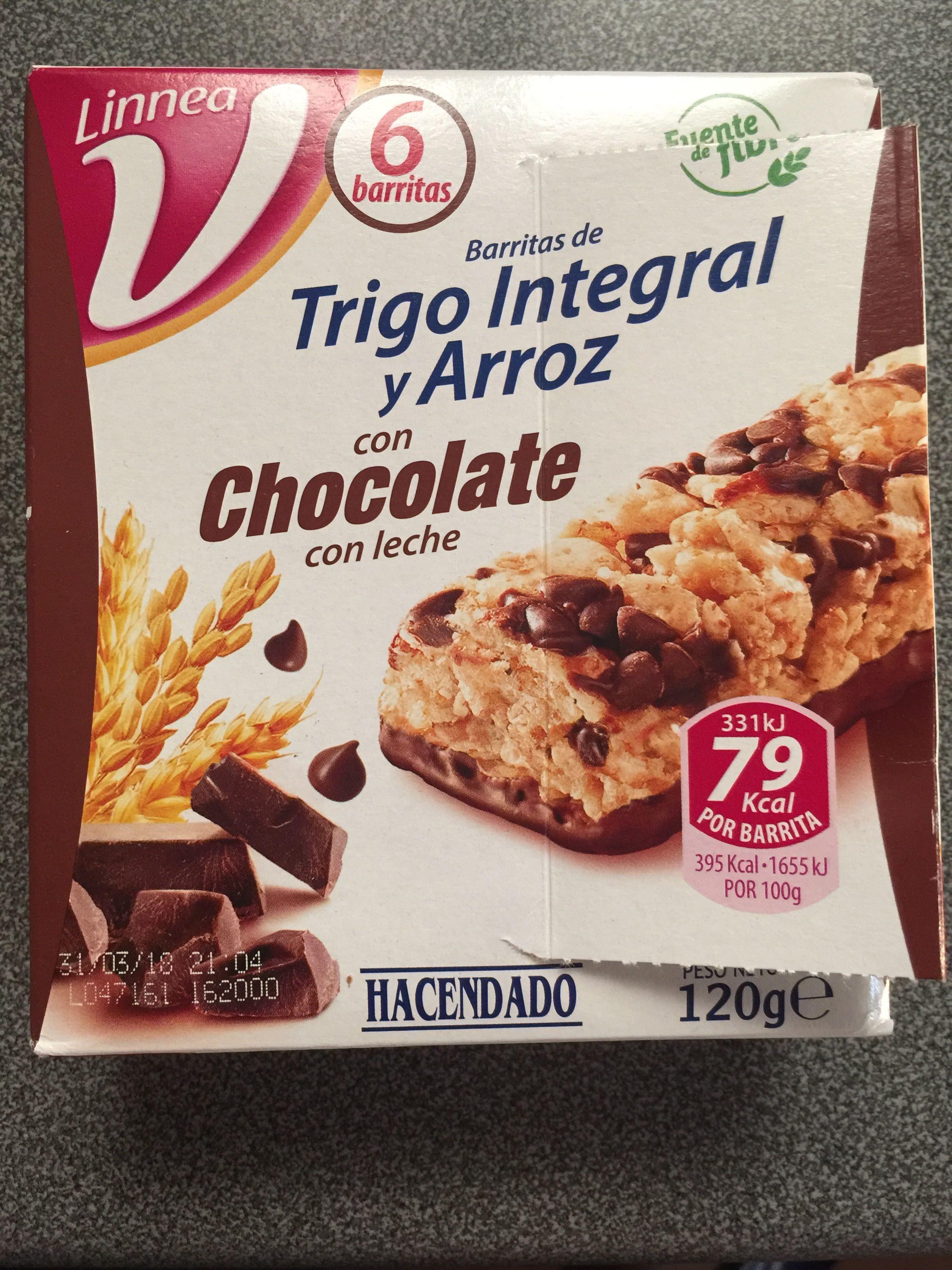 Barritas De Trigo Y Arroz Integral Con Chocolate Con Leche Hacendado 100g