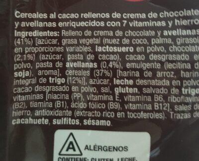 Cereales rellenos de crema de chocolate y avellanas - Ingredientes - es