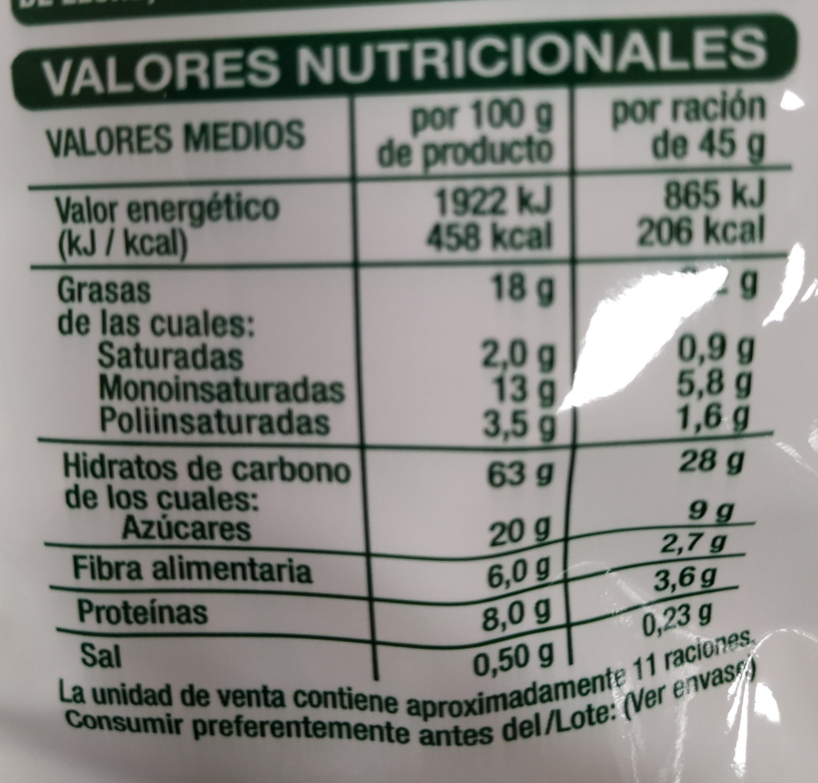 Muesli crujiente con frutos secos - Nutrition facts