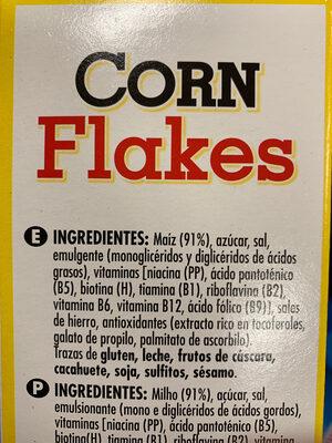 Copos de maíz - Ingredients