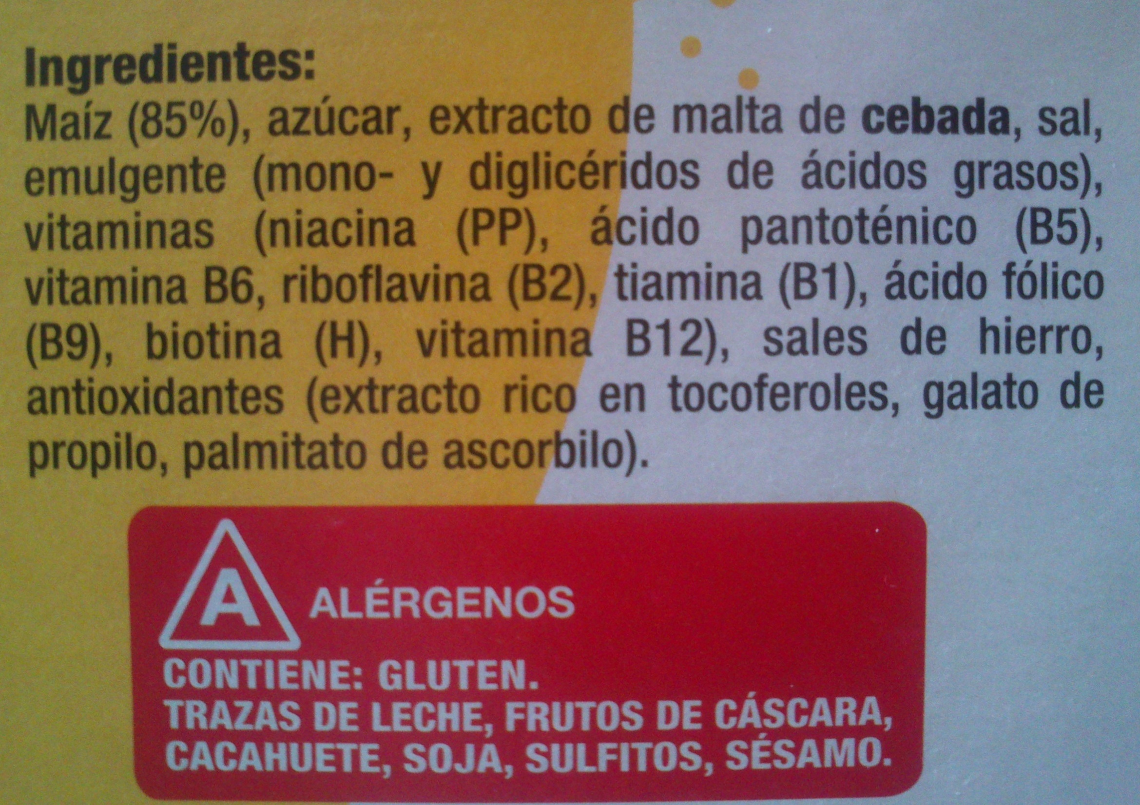 Copos de maíz - Ingredients - es