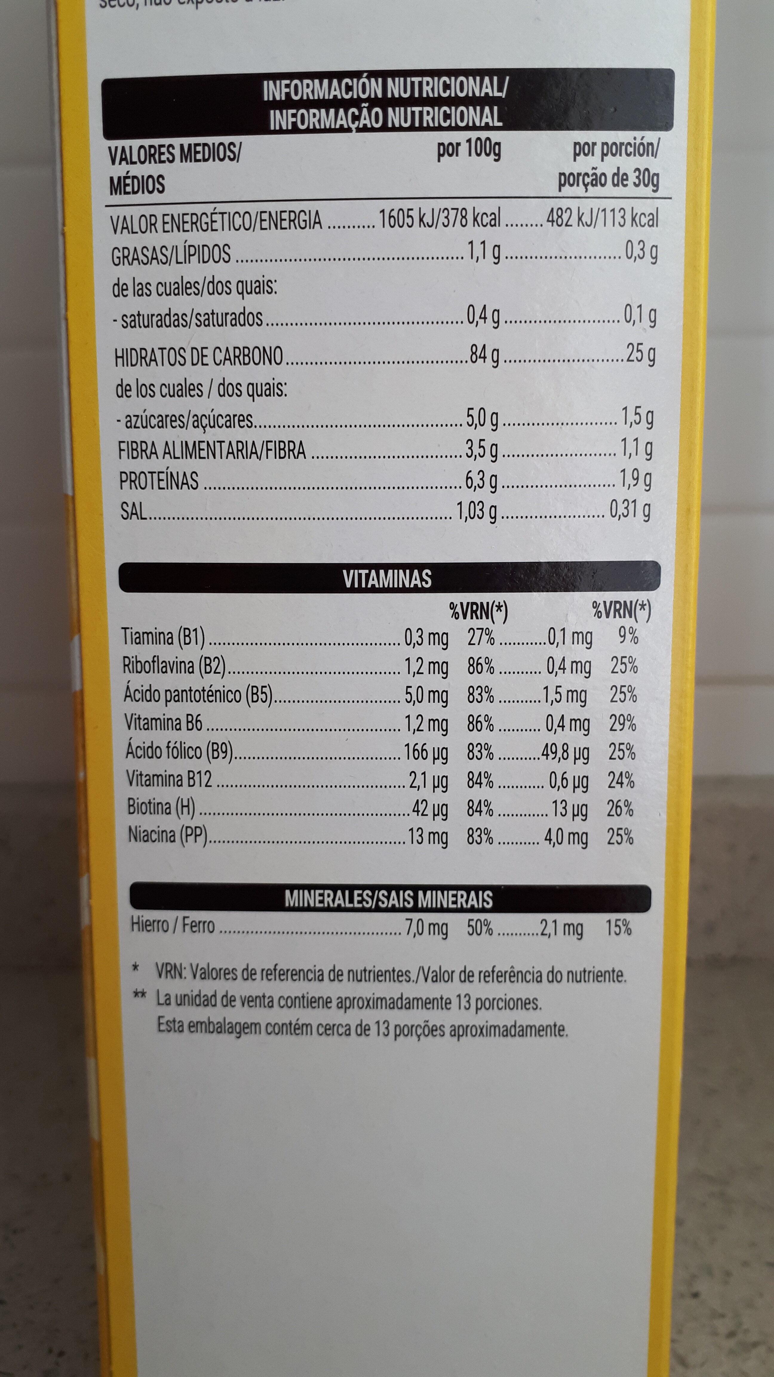 Copos de maíz - Informació nutricional - es