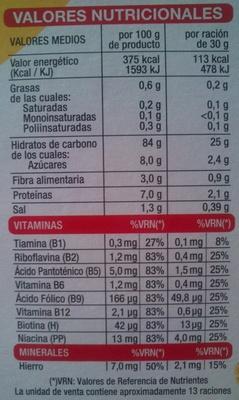 Copos de maíz - Información nutricional