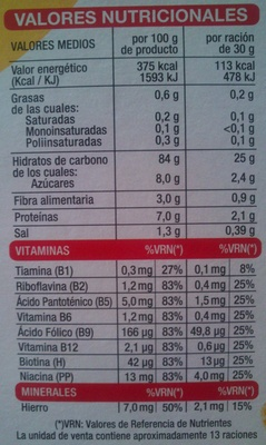 Copos de maíz - Nutrition facts