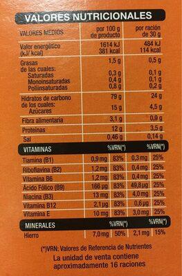 Copos de arroz y trigo integral - Información nutricional - es