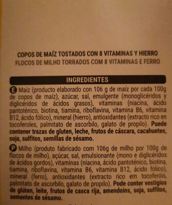 Corn flakes - Ingredientes - es