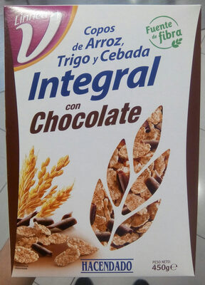 Copos de arroz, trigo y cebada integral con chocolate - Producte - es