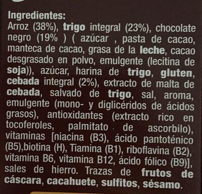 Copos de arroz, trigo y cebada integral con chocolate - Ingredients - es