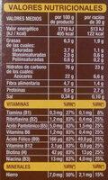 Copos de arroz, trigo y Canada integral con chocolate - Información nutricional