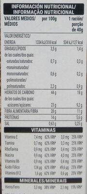 Cereales con salvado de trigo - Información nutricional