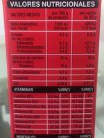 Copos de arroz, trigo y cebada integral con frutos rojos - Información nutricional