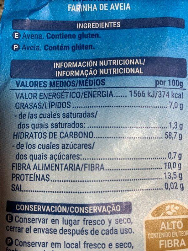 Avena molida - Información nutricional