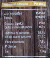 Copos de espelta - Información nutricional
