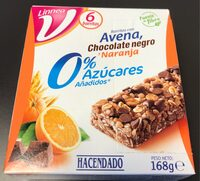 Barritas con avena, chocolate negro y naranja 0% - Producto - es