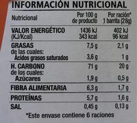 Barritas con avena, chocolate negro y naranja - Informació nutricional
