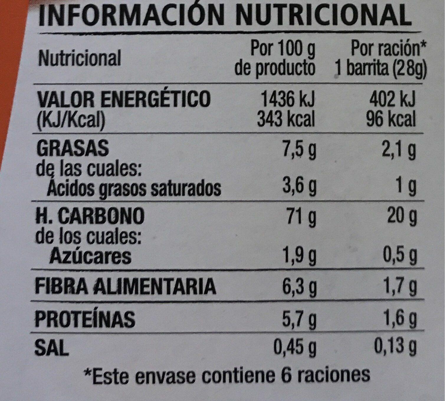 Barritas con avena, chocolate negro y naranja 0% - Información nutricional - es