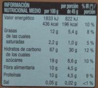 Cereales con fibra sabor chocolate - Informació nutricional - es
