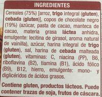 Copos de arroz, trigo integral y cebada con chocolate - Ingredientes - es