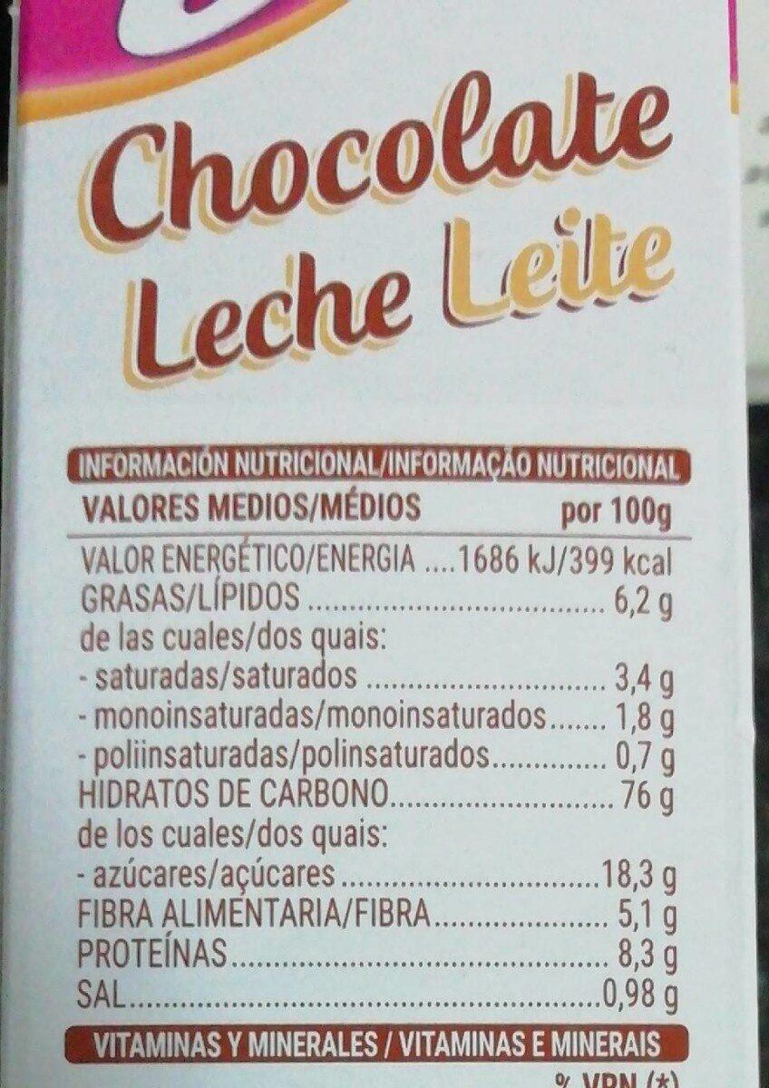 Copos de arroz, trigo integral y cebada con chocolate - Información nutricional - es