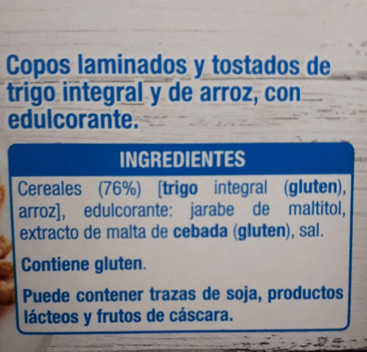Copos de trigo integral y arroz 0% - Ingrédients - fr