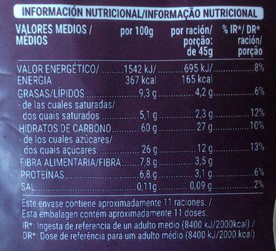 Muesli 50% frutas & frutos secos - Nutrition facts - es