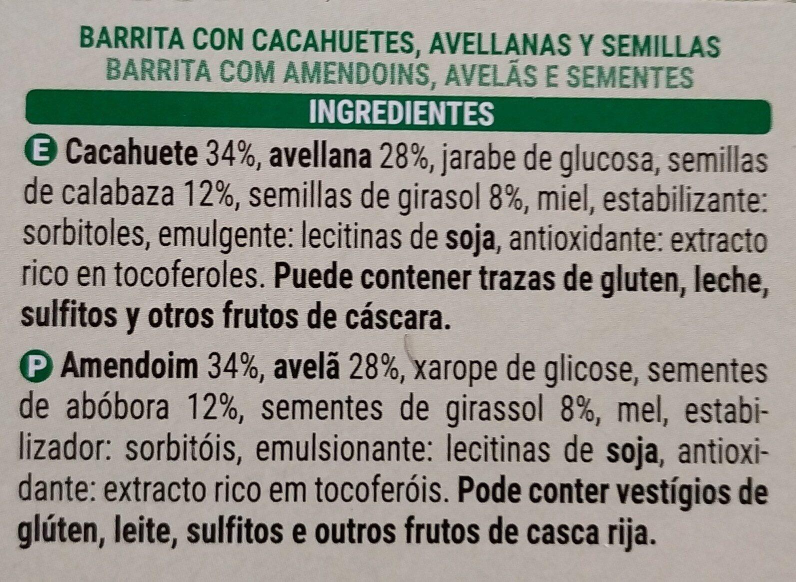 Barritas frutos secos - Ingredients - es