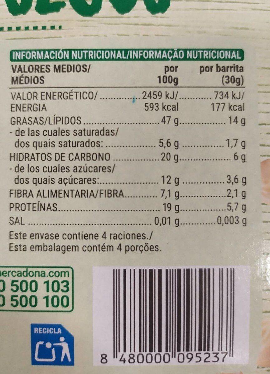 Barritas frutos secos - Informació nutricional - es