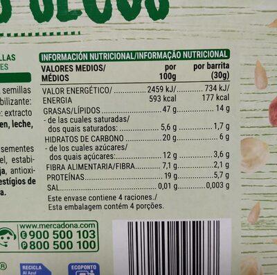 Barrita Con Cacahuete Avellanas Y Semillas - Informations nutritionnelles