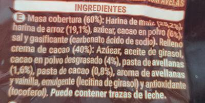 Cereales rellenos de crema de cacao y avellana - Ingrédients - es