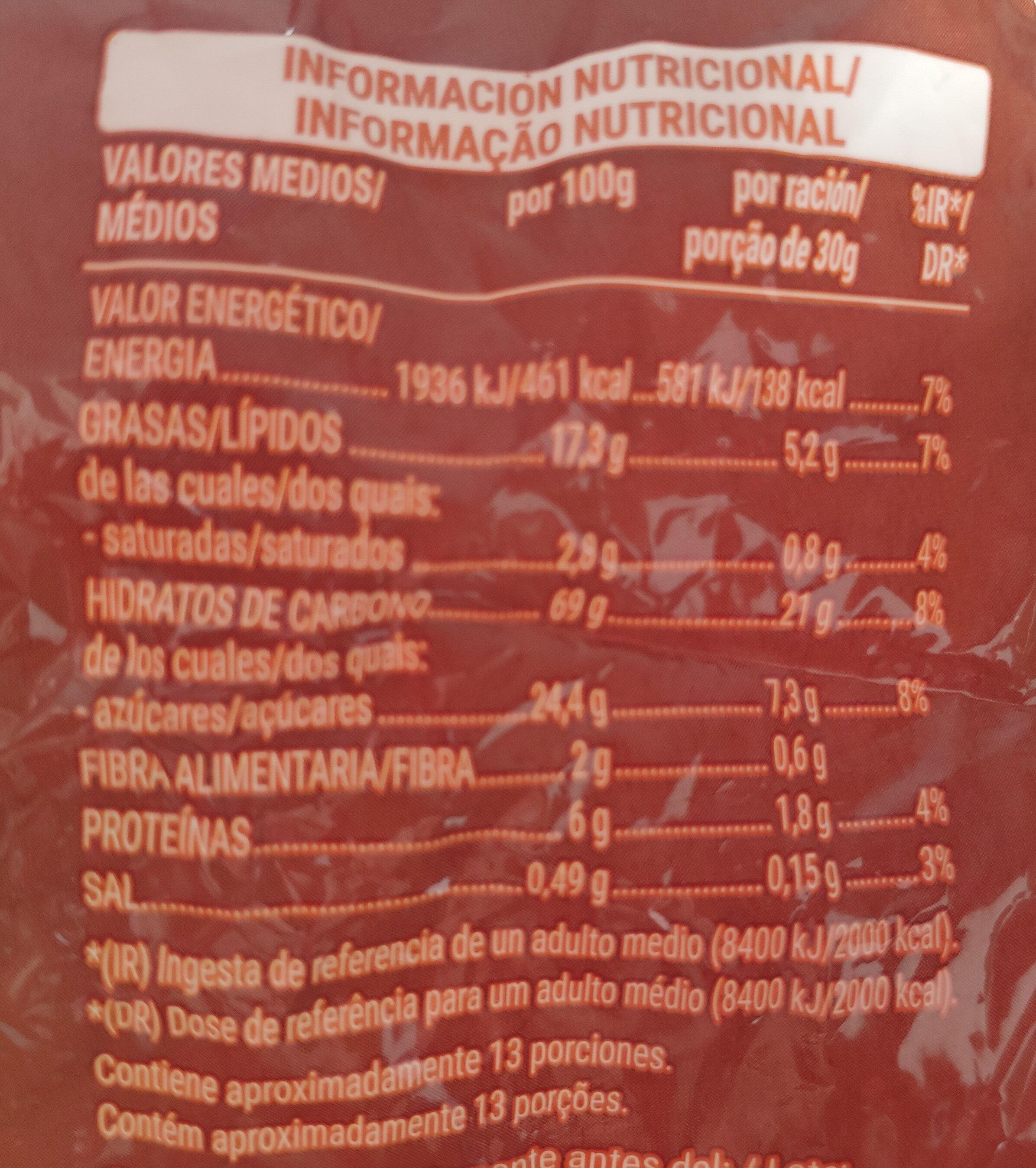 Cereales rellenos de crema de cacao y avellana - Informations nutritionnelles - es