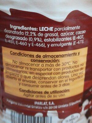 Batido de chocolate 90% leche - Ingrédients