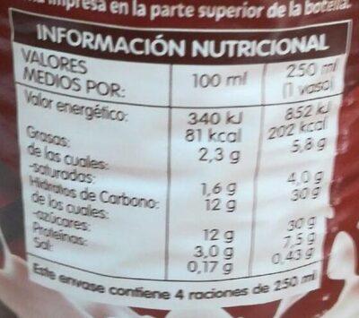 Batido de chocolate 90% leche - Informations nutritionnelles