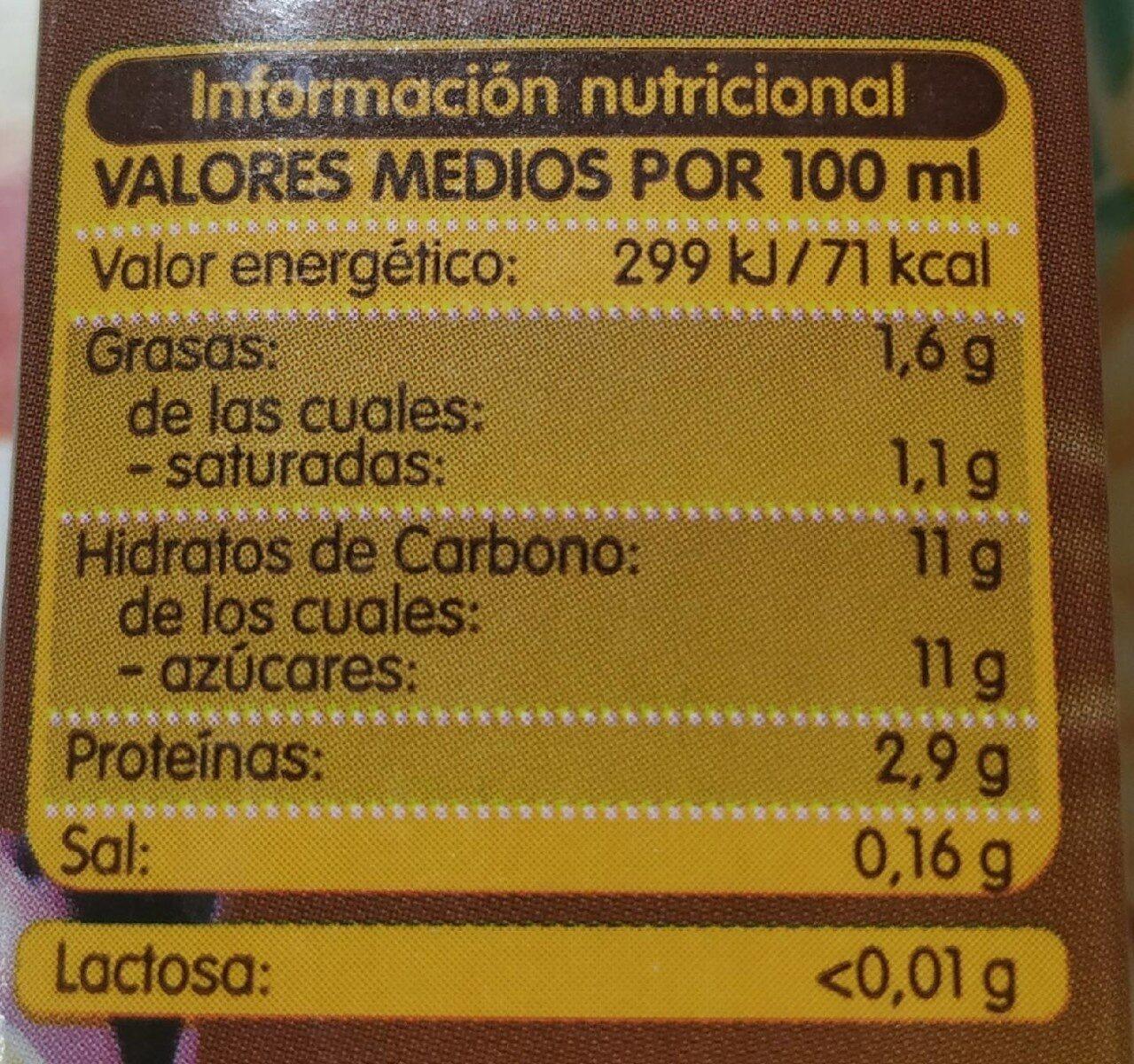 Batido Chocolate sin lactosa - Nutrition facts
