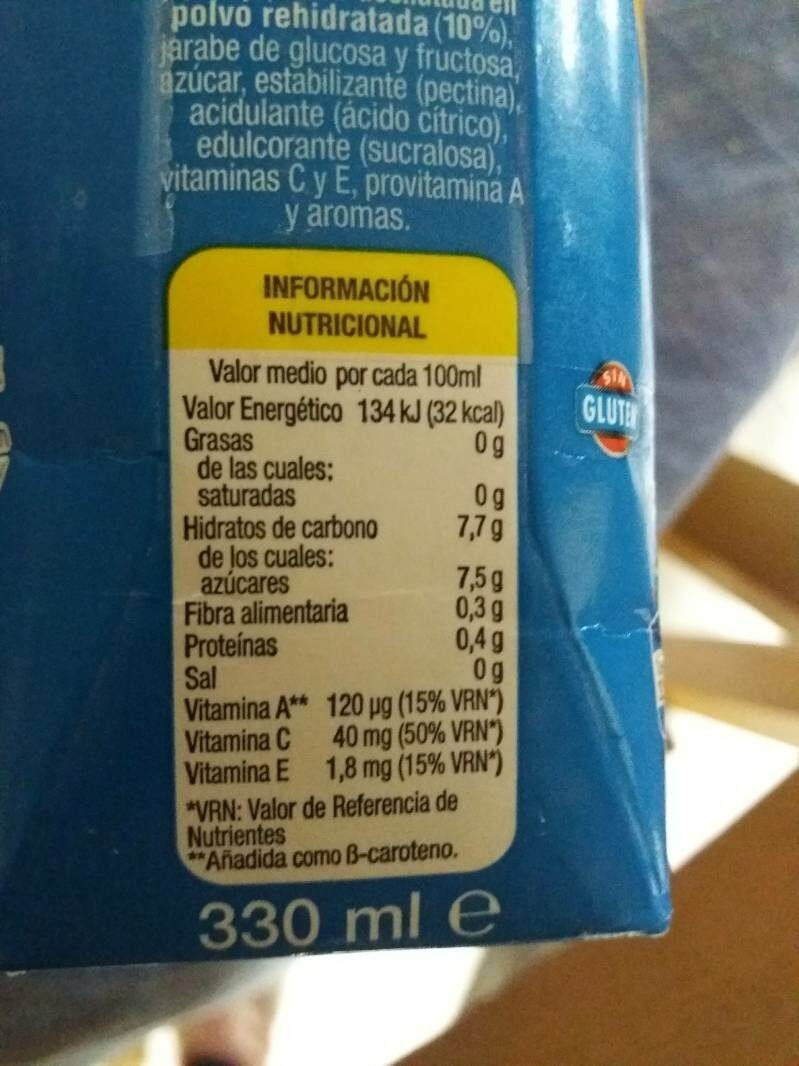 Zumo + leche mediterraneo - Nutrition facts - es