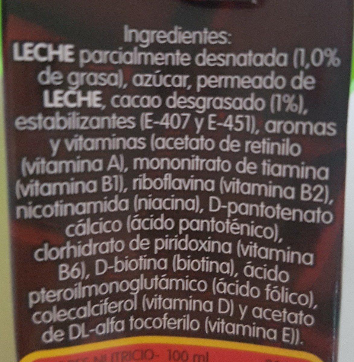 Batido de Chocolate - Ingredientes