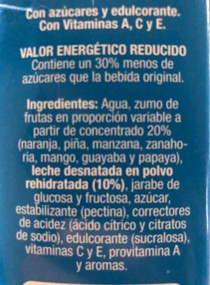 mediterraneo fruta + leche - Ingredientes