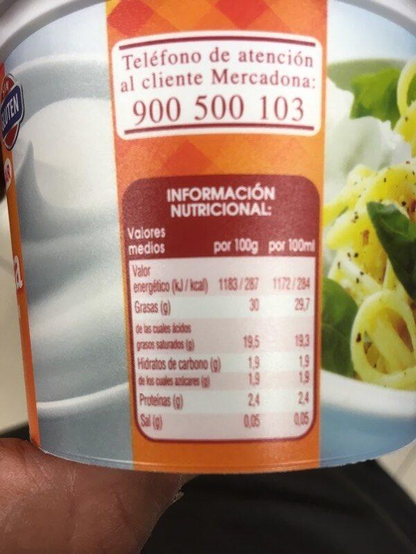 Nata fresca - Informations nutritionnelles