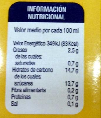 Horchata  de chufa - Informació nutricional