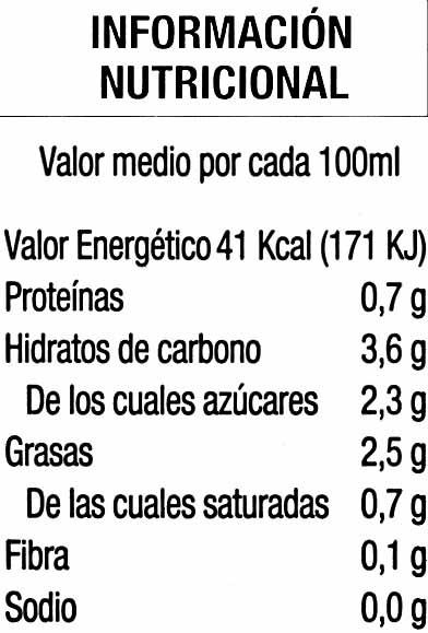 Bebida de chufa sin lactosa - Nutrition facts - es